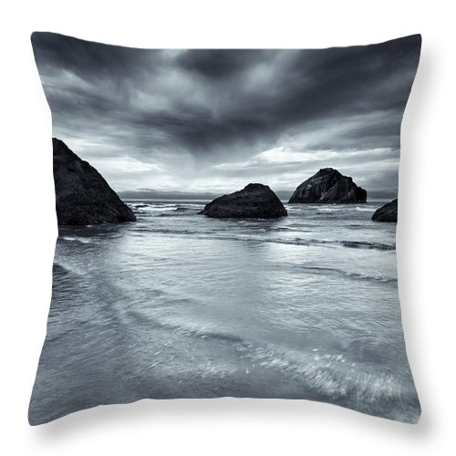 Beach Throw Pillow featuring the photograph Clearing Storm by Mike Dawson