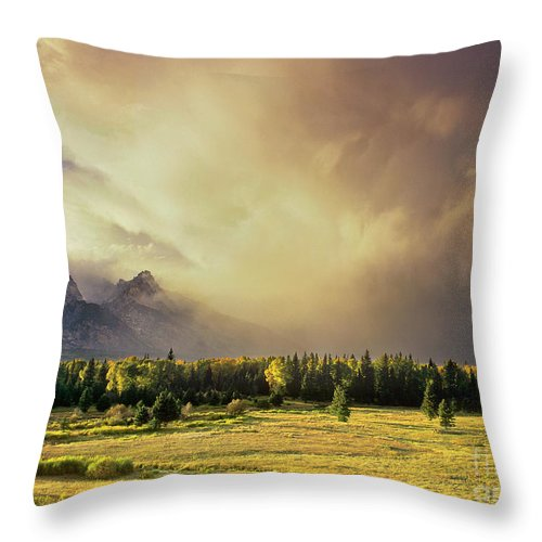 North America Throw Pillow featuring the photograph Clearing Summer Storm Grand Tetons National Park by Dave Welling