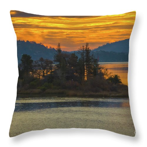 Clearlake Gold Throw Pillow featuring the photograph Clearlake Gold by Mitch Shindelbower