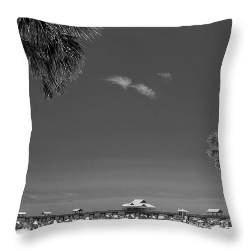 B&w Throw Pillow featuring the photograph Clearwater Beach Bw by Adam Romanowicz