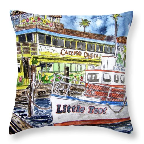 Seascape Throw Pillow featuring the painting Clearwater Florida Boat Painting by Derek Mccrea