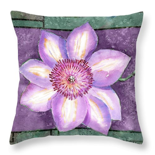 Flowers Throw Pillow featuring the painting Clematis by Arline Wagner