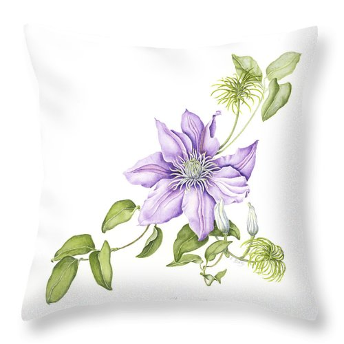 Watercolors Throw Pillow featuring the painting Clematis Cezanne by Karla Beatty