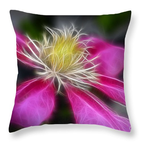 Flower Throw Pillow featuring the photograph Clematis In Pink by Deborah Benoit