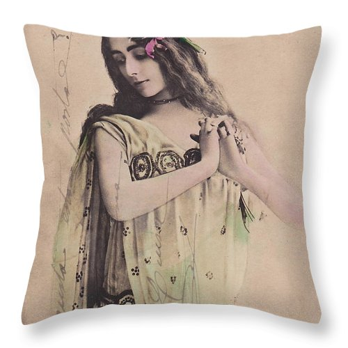 Cleo Throw Pillow featuring the photograph Cleo De Merode by Reutlingers