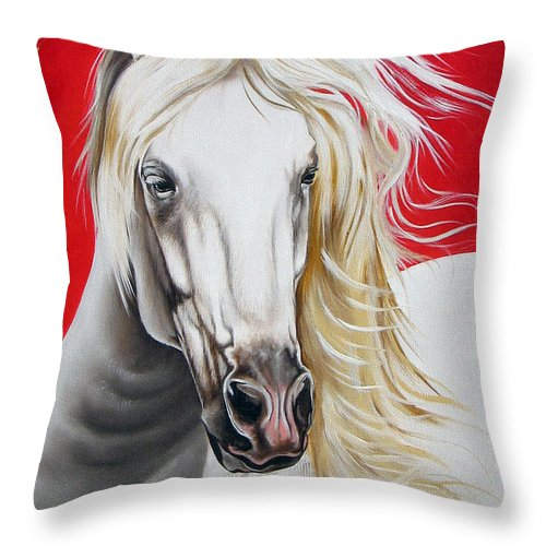 Horse Throw Pillow featuring the painting Cleo by Ilse Kleyn