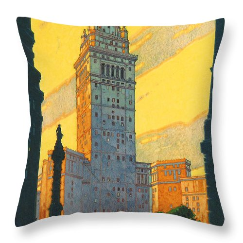 Cleveland Throw Pillow featuring the digital art Cleveland - Vintage Travel by Georgia Fowler