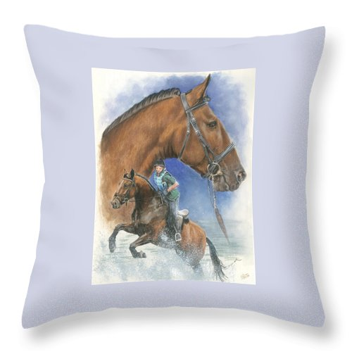 Hunter Jumper Throw Pillow featuring the mixed media Cleveland Bay by Barbara Keith