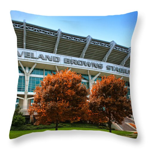 Cleveland Throw Pillow featuring the photograph Cleveland Browns Stadium by Kenneth Krolikowski