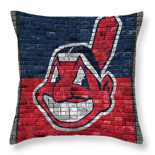 Indians Throw Pillow featuring the painting Cleveland Indians Brick Wall by Joe Hamilton