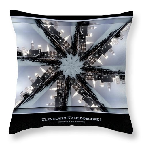 Cleveland Throw Pillow featuring the photograph Cleveland Kaleidoscope I by Kenneth Krolikowski