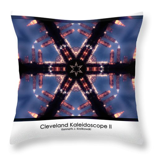 Cleveland Throw Pillow featuring the photograph Cleveland Kaleidoscope II by Kenneth Krolikowski