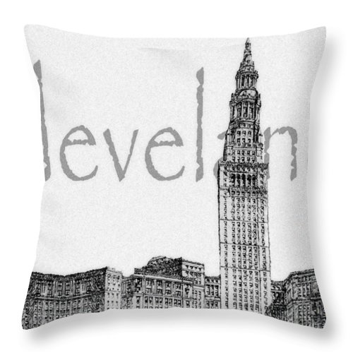 Cleveland Throw Pillow featuring the digital art Cleveland by Kenneth Krolikowski