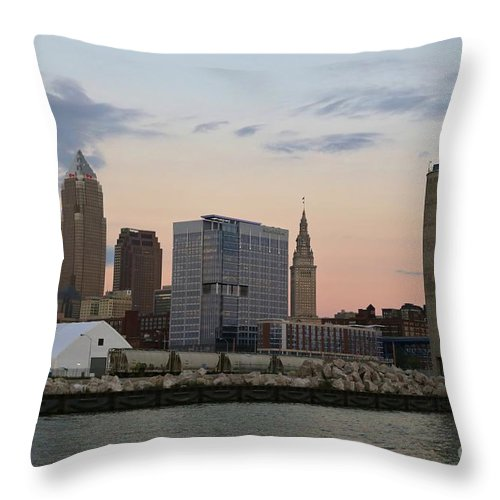 Destination Throw Pillow featuring the photograph Cleveland Skyline And Port On The Cuyahoga River by Douglas Sacha