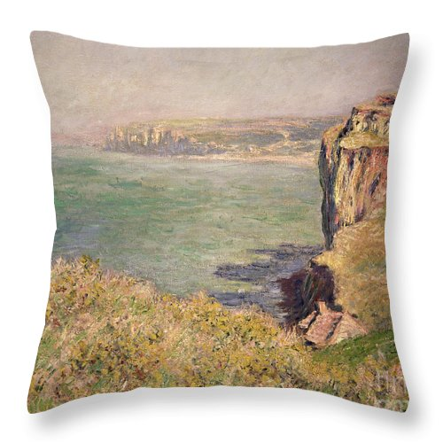 Cliff Throw Pillow featuring the painting Cliff At Varengeville by Claude Monet