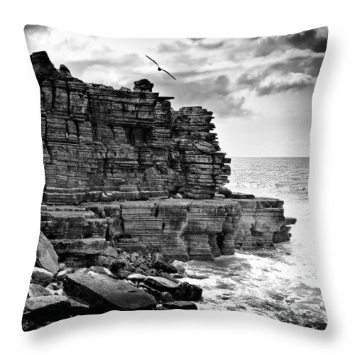 Sea Throw Pillow featuring the photograph Cliff by Nelson Mineiro