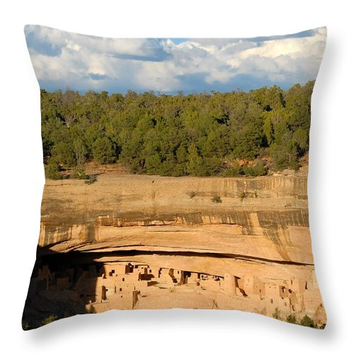 Cliff Palace Throw Pillow featuring the photograph Cliff Palace Landscape by David Lee Thompson