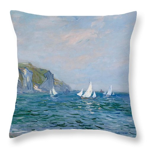 Cliffs And Sailboats At Pourville Throw Pillow featuring the painting Cliffs and Sailboats at Pourville by Claude Monet