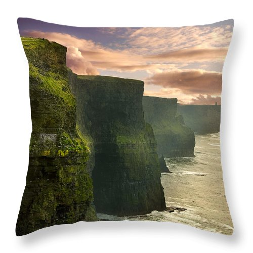 Cliffs Of Moher Throw Pillow featuring the photograph Cliffs Of Moher - 2 by Robert Lacy