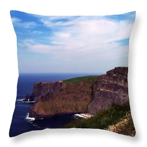Irish Throw Pillow featuring the photograph Cliffs Of Moher Aill Na Searrach Ireland by Teresa Mucha
