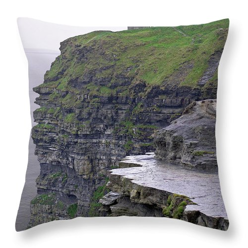 Cliff Throw Pillow featuring the photograph Cliffs Of Moher Ireland by Charles Harden