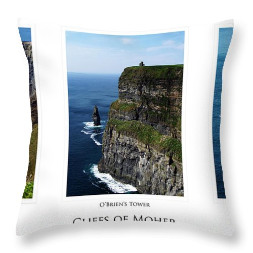 Irish Throw Pillow featuring the photograph Cliffs Of Moher Ireland Triptych by Teresa Mucha