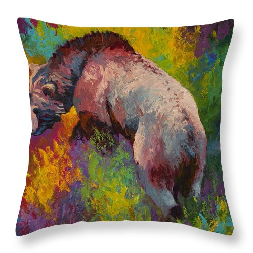 Western Throw Pillow featuring the painting Climbing The Bank - Grizzly Bear by Marion Rose