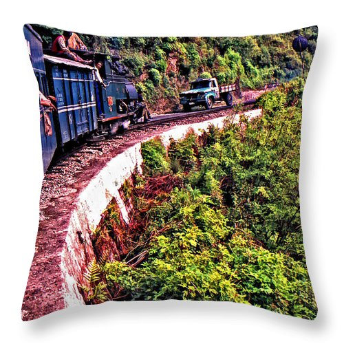 Toy Train Throw Pillow featuring the photograph Climbing The Himalayas by Steve Harrington