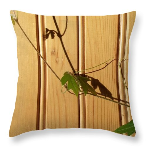 Vine Throw Pillow featuring the photograph Climbing The Wall by Jackie Mueller-Jones