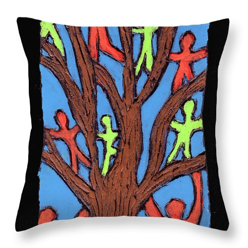People Throw Pillow featuring the painting Climbing by Wayne Potrafka
