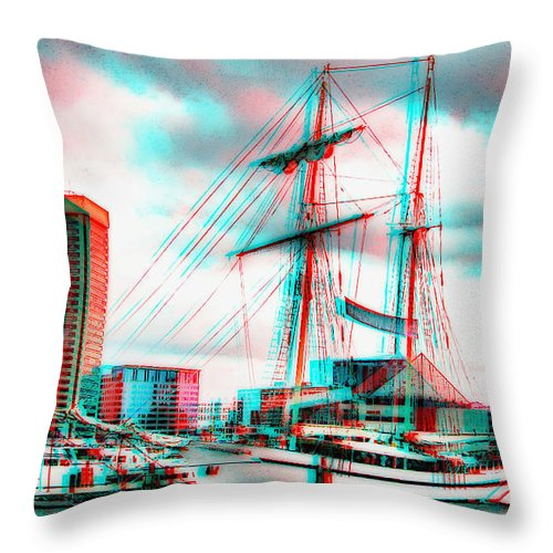 3d Throw Pillow featuring the photograph Clipper City - Use Red-cyan 3d Glasses by Brian Wallace