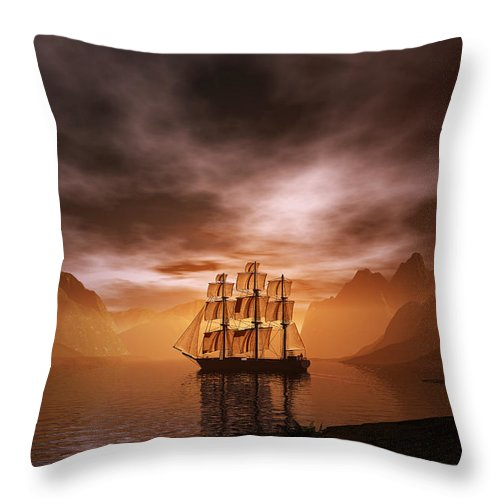 Boat Throw Pillow featuring the digital art Clipper Ship At Sunset by Carol and Mike Werner