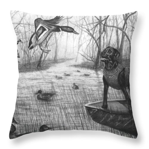 Cloaked Throw Pillow featuring the drawing Cloaked by Peter Piatt