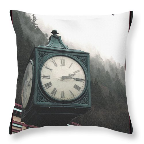 Clock Throw Pillow featuring the photograph Clock Raven by Perri Kelly