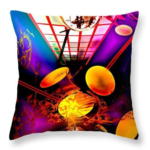 Clock Throw Pillow featuring the digital art Clock-sync by Helmut Rottler
