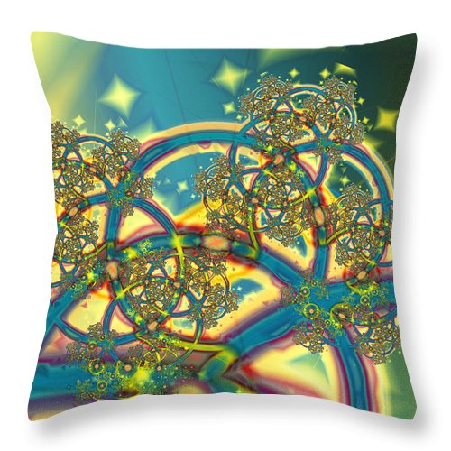 Fractal Throw Pillow featuring the digital art Clockworks by Frederic Durville