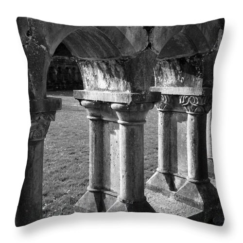 Irish Throw Pillow featuring the photograph Cloister At Cong Abbey Cong Ireland by Teresa Mucha