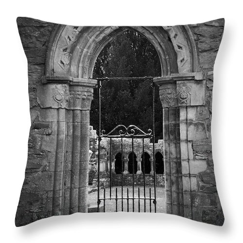 Irish Throw Pillow featuring the photograph Cloister View Cong Abbey Cong Ireland by Teresa Mucha