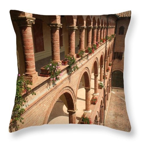 Courtyard Throw Pillow featuring the photograph Cloistered Courtyard by Christiane Schulze Art And Photography