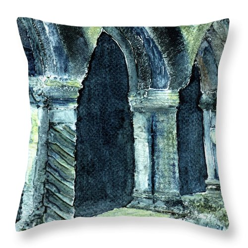 Irish Throw Pillow featuring the digital art Cloisters by Anne Marie ODriscoll