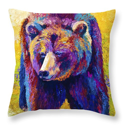 Western Throw Pillow featuring the painting Close Encounter - Grizzly Bear by Marion Rose