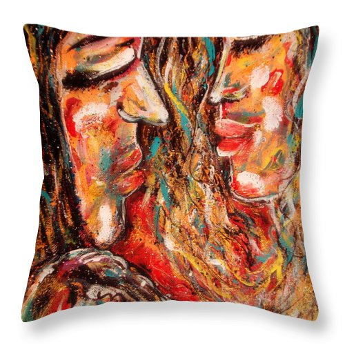 Romantic Throw Pillow featuring the painting Close Encounter by Natalie Holland