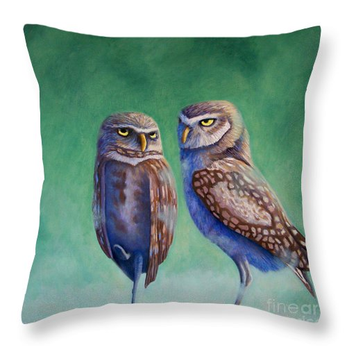 Owls Throw Pillow featuring the painting Close Encounters by Brian Commerford