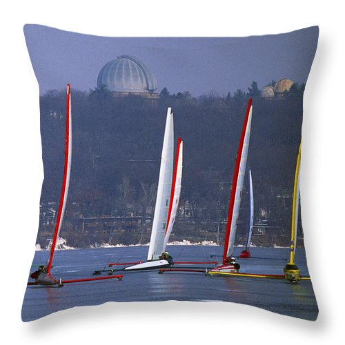 Iceboat Throw Pillow featuring the photograph Close Encounters - Lake Geneva Wisconsin by Bruce Thompson