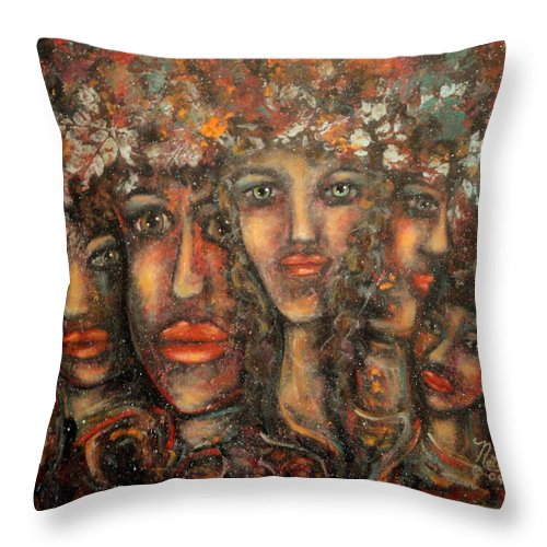 Expressionism Throw Pillow featuring the painting Close Friends by Natalie Holland