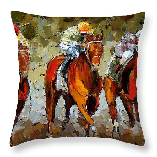 Horses Throw Pillow featuring the painting Close Race by Debra Hurd