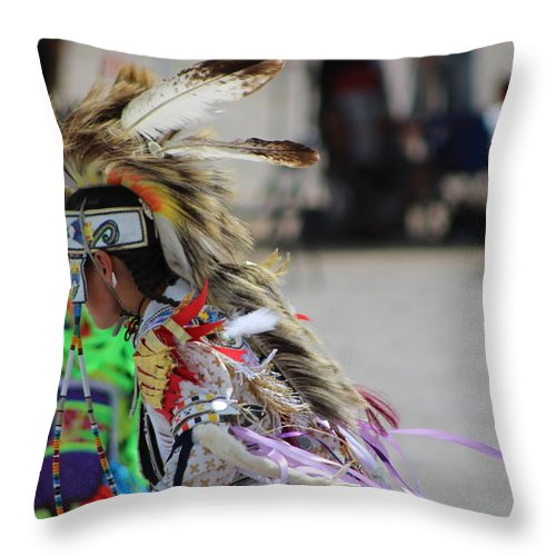 Paiute Throw Pillow featuring the photograph Close Up of Young Native American Man with Feathered Headdress Paiute Pow Wow by Colleen Cornelius