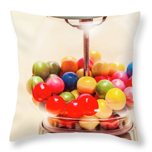 Lollies Throw Pillow featuring the photograph Closeup Of Colorful Gumballs In Candy Dispenser by Jorgo Photography - Wall Art Gallery