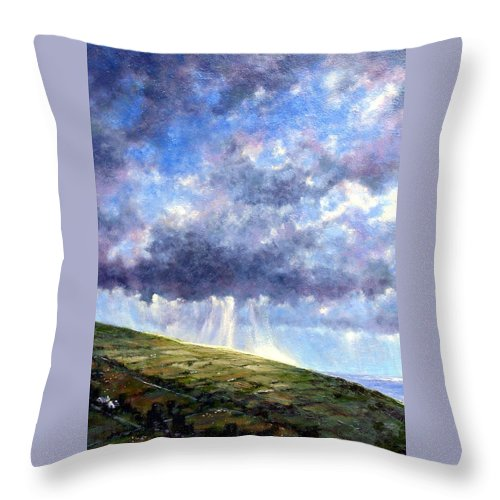 Oil Painting Throw Pillow featuring the painting Cloud Burst Ireland by Jim Gola
