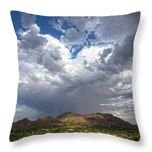 Arizona Throw Pillow featuring the photograph Cloud Burst Over Mummy Mountain by Cathy Franklin